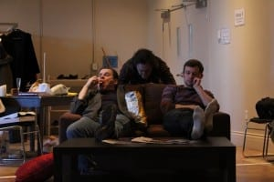 Actors Tony Munch, Neil Foster, and Nathan Howe get down to business