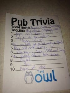 This trivia card was not read during the night. / Photo by Sonia Stanger