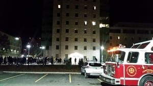 Fire trucks and evacuated students gather outside the new residence building. Photo - Taylor MacPherson