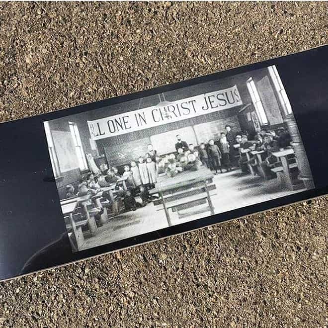 langan reuses residential school documents to educate young people about Canadian colonialism by colonialism skateboards