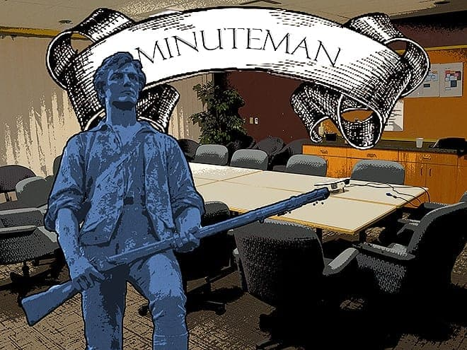 Our bold minuteman braves boredom to bring you an URSU update. Photo - Kyle Leitch
