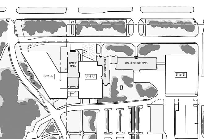 Sites A, B, and C are open for development proposals. Map provided by University of Regina