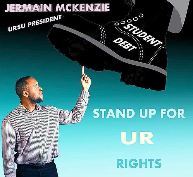 The new face of URSU [from the Vote for Jermain Mckenzie for URSU President Facebook Page]