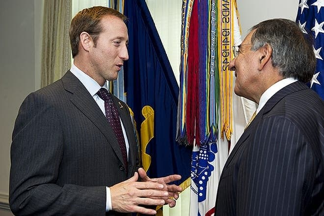 110930-D-BW835-006¬¬Canadian Minister of Defense Peter MacKay, left, speaks with Secretary of Defense Leon Panetta before sitting down to a meeting in the Pentagon in Arlington, Va., on Sept.30, 2011.  Panetta and Mackay are meeting to discuss security matters of mutual interest.  DoD photo by Erin A. Kirk-Cuomo.   (Released)
