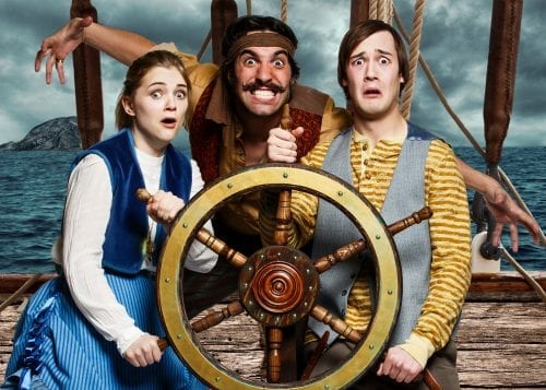 Lauren May, Gaelan Beatty, and Kyle Kuchirka in Peter and the Starcatcher. Photo by Chris Graham, photo manipulation by Hayley Peters, photo courtesy of Globe Theatre.