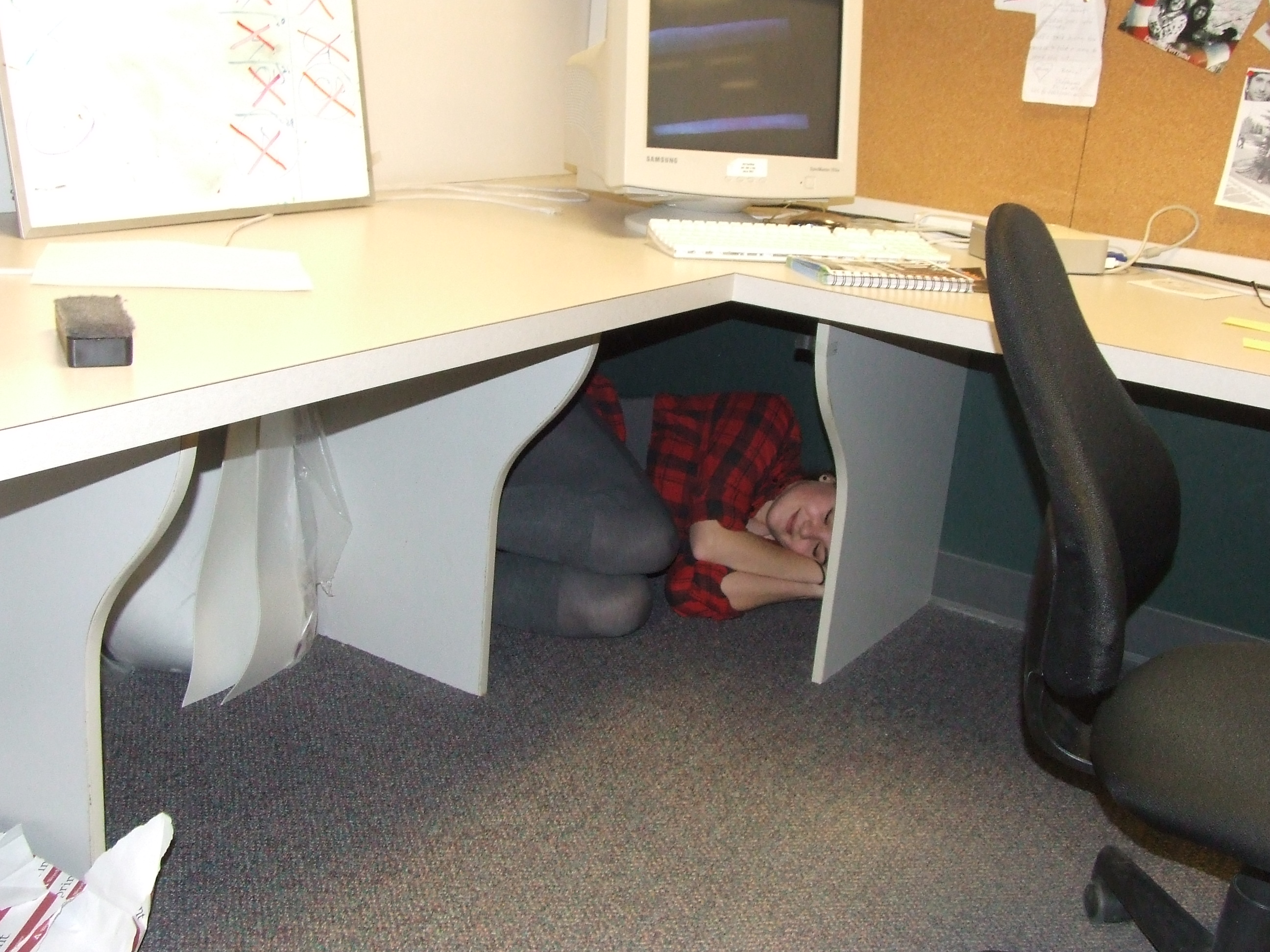 Lady discovered in office corner