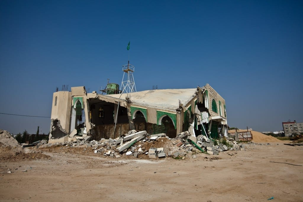 A destroyed mosque in the Gaza Strip