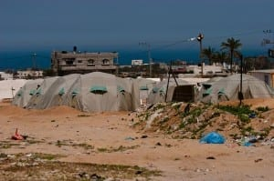 An encampment for displaced Palestinians