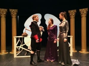 (From left to right) Tyler Toppings, Jessie Grant, Robyn Sanderson, and Cydney Forbes on stage in The Actor's Nightmare.