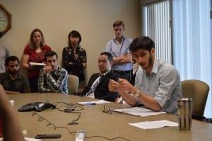 Amir Aboguddah talks to those who came to the conference/Michael Chmielewski