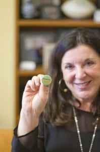 """President Vianne Timmons. Button: """"I support the U-Pass."""" / Kandra Forbes"""