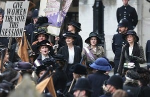 LONDON, ENGLAND - APRIL 11:  Actors (L-R) Anne-Marie Duff, Carey Mulligan, Helena Bonham Carter and Romola Garai take part in filming of the movie Suffragette at Parliament on April 11, 2014 in London, England. This is the first time filming for a movie has been allowed in The Houses of Parliament. Suffragette is due for release in 2015.  (Photo by Peter Macdiarmid/Getty Images)