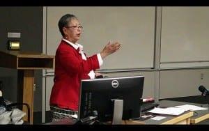 The Hon. Senator Lillian Dyck spoke on campus October 28. Photo - Jael Bartnik
