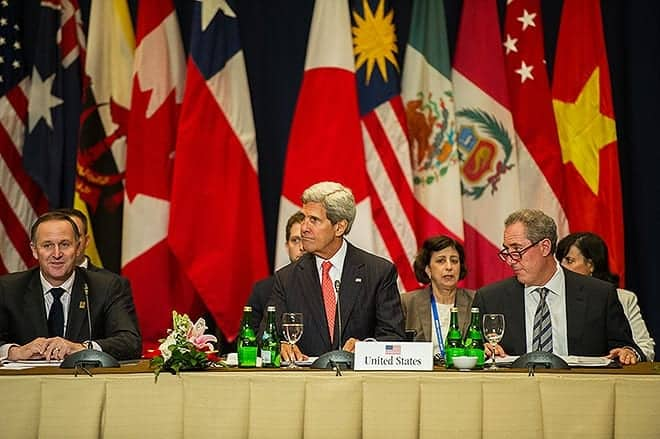 Bali, Indonesia (October 8, 2013) U.S. Secretary of State John Kerry participates in a meeting with nations' leaders discussing the Trans-Pacific Partnership (TPP). [State Department photo by William Ng/Public Domain]