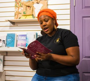 """Iryn Tushabe reading an excerpt from her story """"A Separation."""""""
