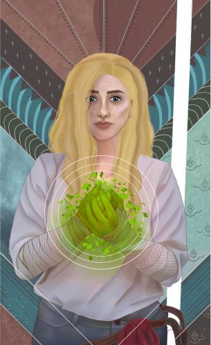 Another portrait done by Jorah Bright. A slightly more fantastical piece depicting a blonde person on a vibrant geometrical background with glowing green hands.