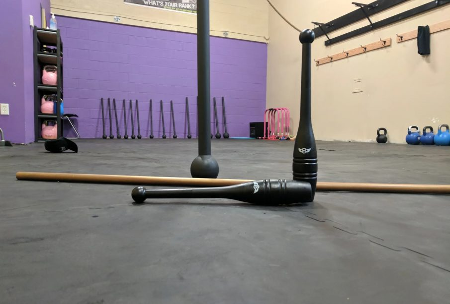 Different sized maces are shown for fitness
