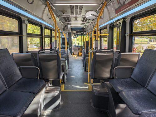 Inside an empty bus